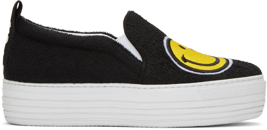Joshua Sanders Black Smile Double Slip-on Sneakers