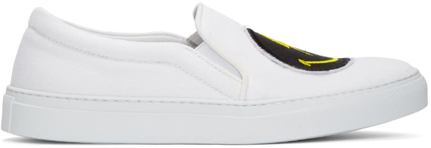 Joshua Sanders White Rainbow Smile Double Slip-on Sneakers