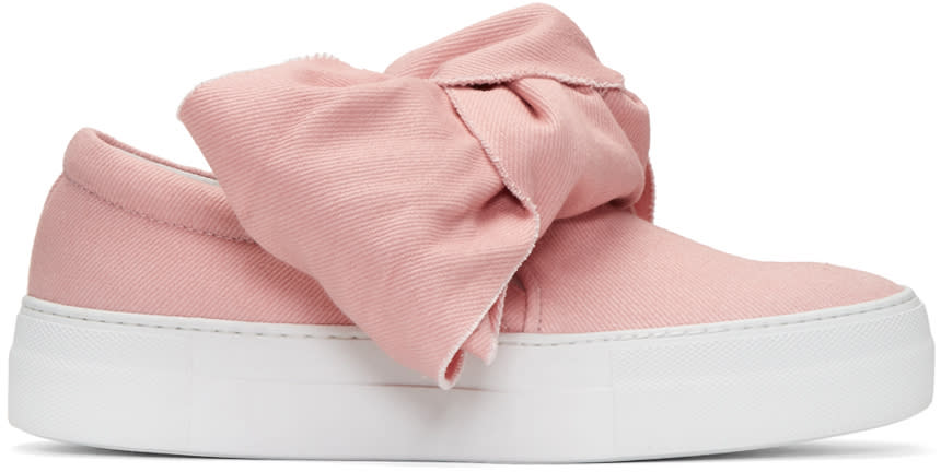 Joshua Sanders Pink Denim Bow Double Slip-on Sneakers