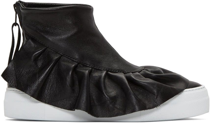 Joshua Sanders Black Ruched High-top Sneakers
