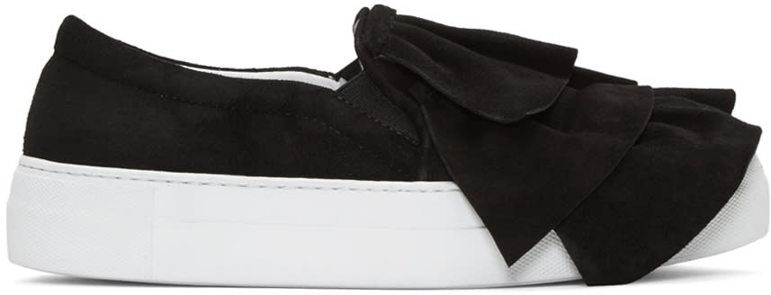 Joshua Sanders Black Suede Ruched Double Slip-on Sneakers