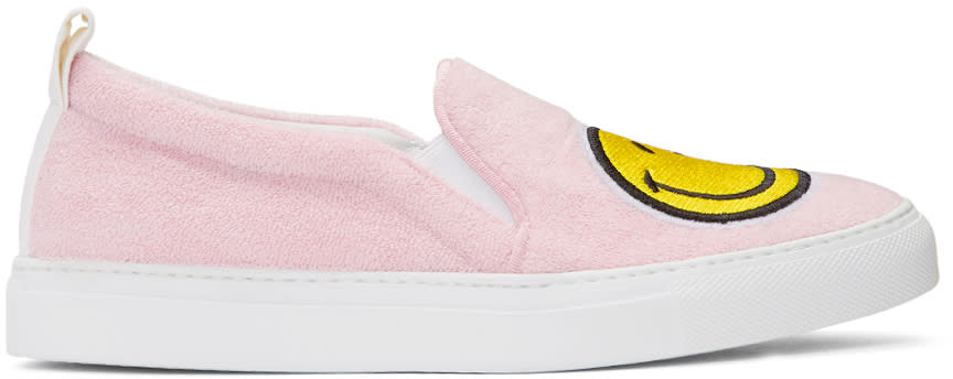 Joshua Sanders Pink Smile Slip-on Sneakers