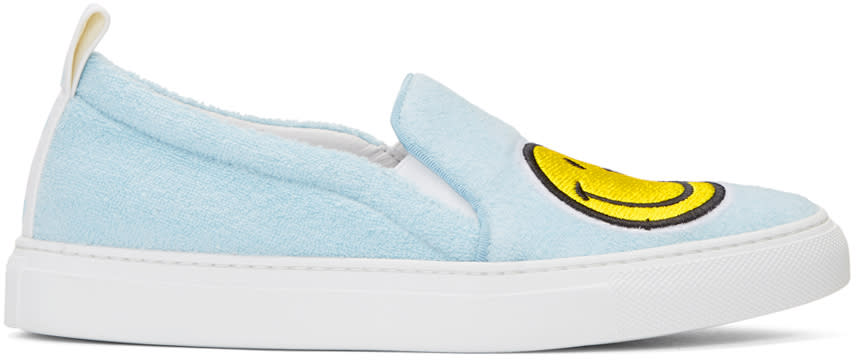 Joshua Sanders Blue Smile Slip-on Sneakers