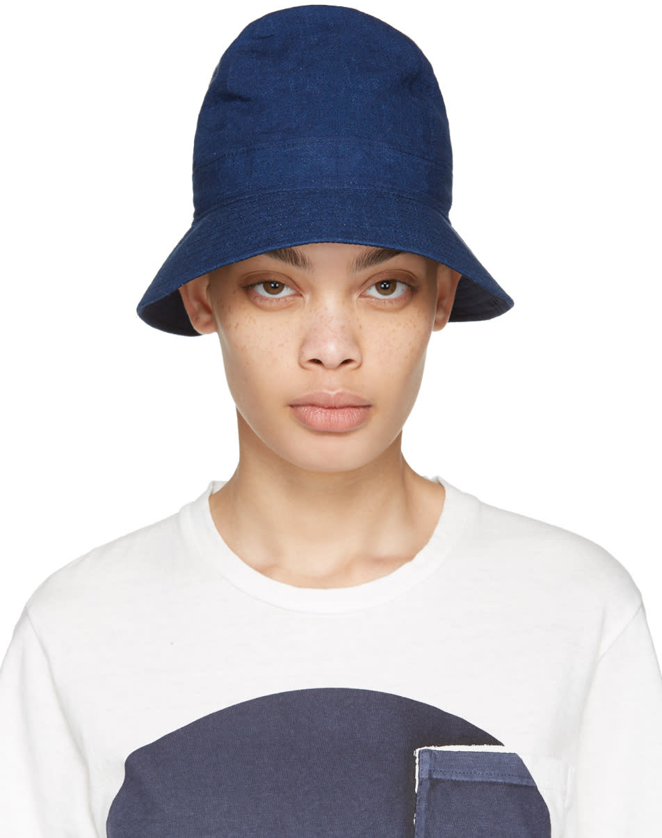 Image of Blue Blue Japan Blue Four Panel Bucket Hat