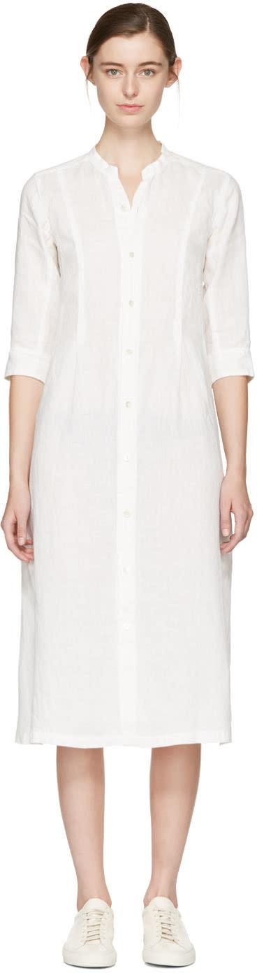 Blue Blue Japan White Linen Shirt Dress