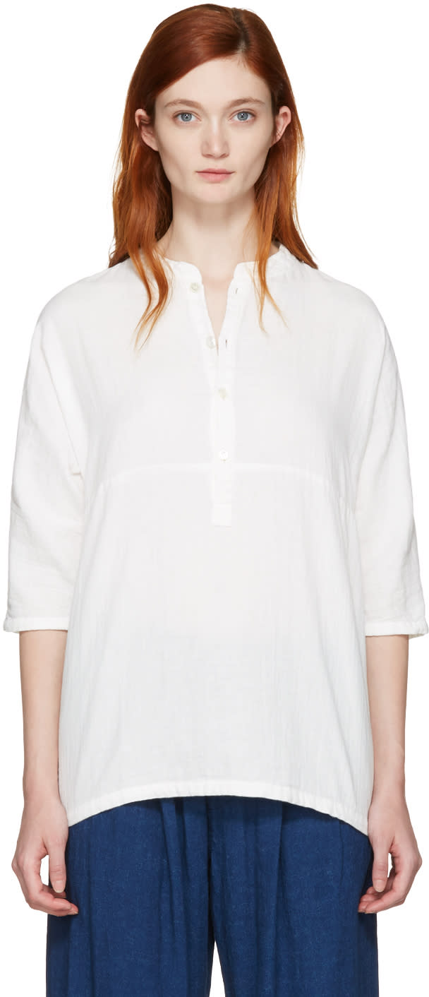 Blue Blue Japan White Stand Collar Blouse