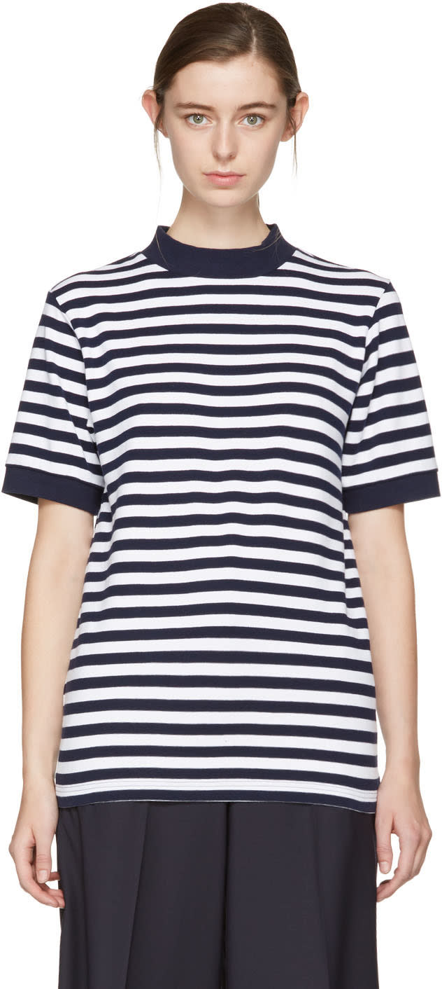 Image of Blue Blue Japan Indigo and White Striped Mock Neck T-shirt