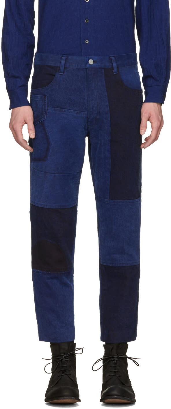 Image of Blue Blue Japan Blue Patchwork Ankle Jeans