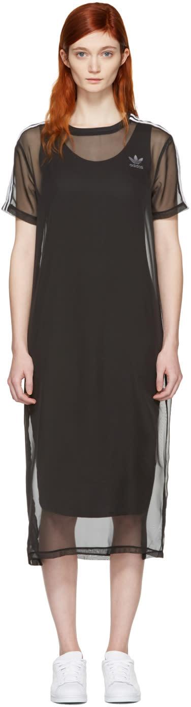 Image of Adidas Originals Black Layered Mesh Dress