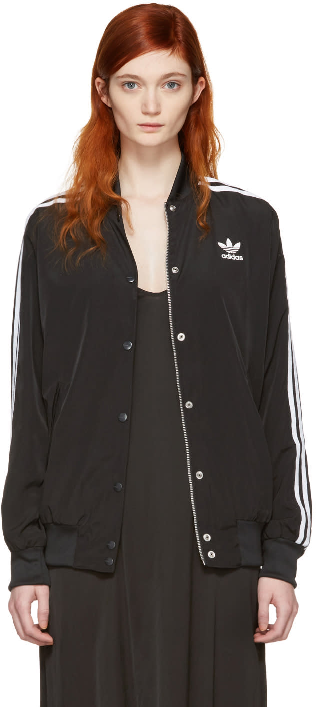 Adidas Originals Black Trefoil Logo Bomber Jacket