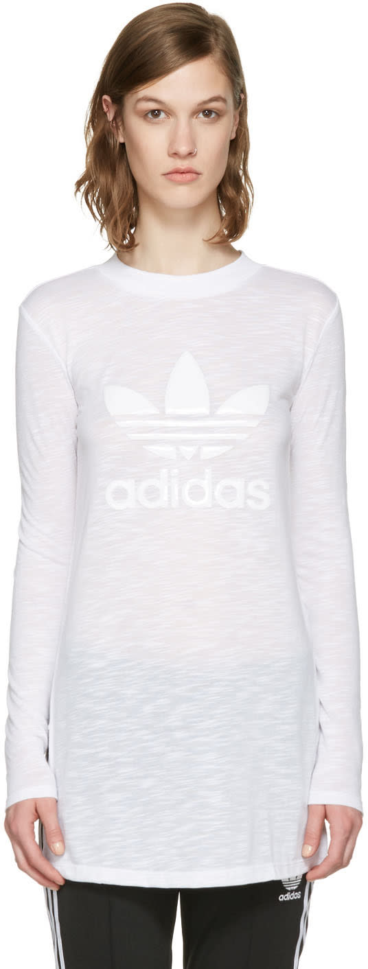 Adidas Originals White Logo Long Sleeve T-shirt