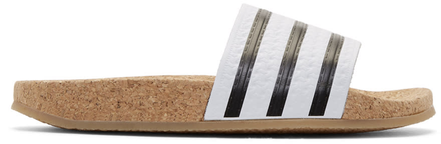 Adidas Originals White Adilette Cork Slide Sandals