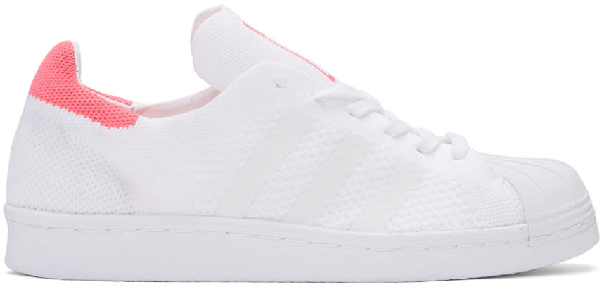 Adidas Originals White and Pink Superstar 80s Pk Sneakers