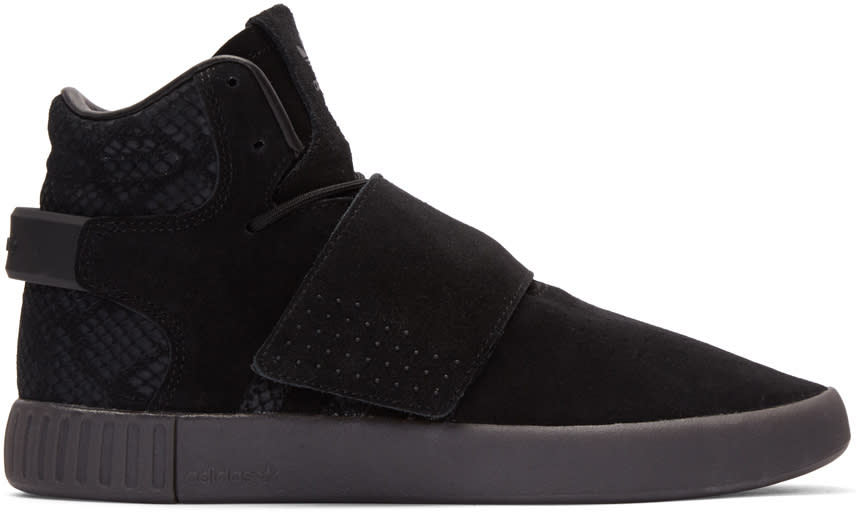 Adidas Originals Black Tubular Invader Strap Sneakers