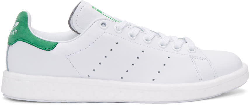 Adidas Originals White and Green Stan Smith Og Boost Sneakers