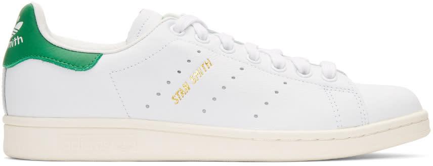 Adidas Originals ホワイト and グリーン Stan Smith スニーカー