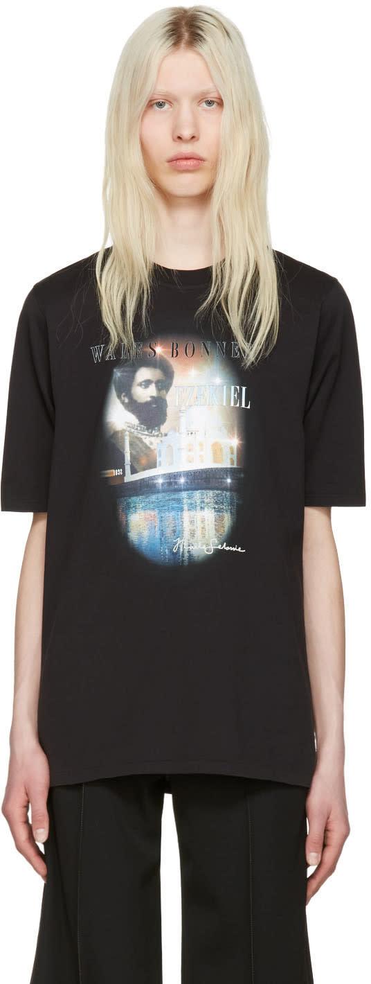 Image of Wales Bonner Black Haile Selassie T-shirt