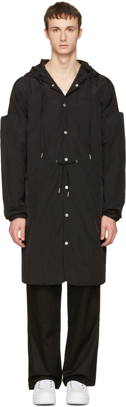 Telfar Black Nylon Hooded Coat
