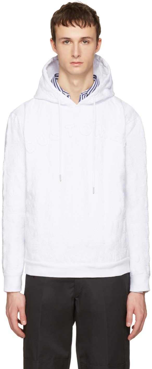 Telfar White customer Embroidered Hoodie