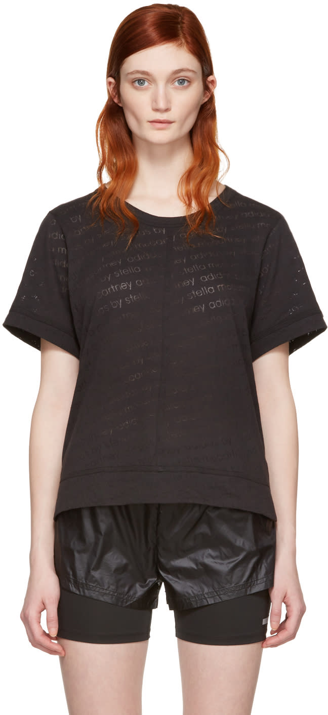 Image of Adidas By Stella Mccartney Black Burnout T-shirt