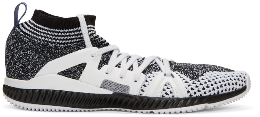 Image of Adidas By Stella Mccartney Black and White Crazytrain Bounce Sneakers