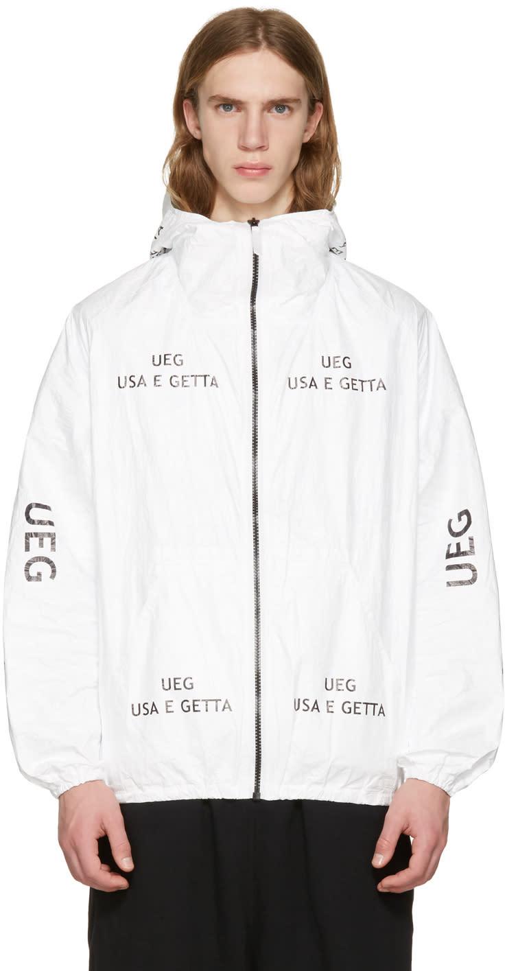 Ueg ホワイト Tyvek® ロゴ フード ジャケット