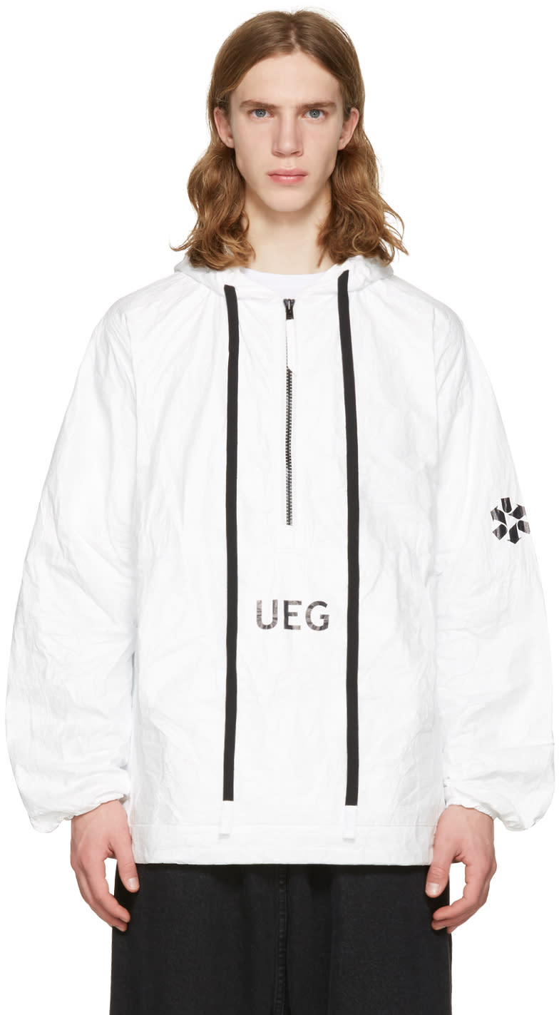Ueg White Tyvek Hooded Pullover Jacket