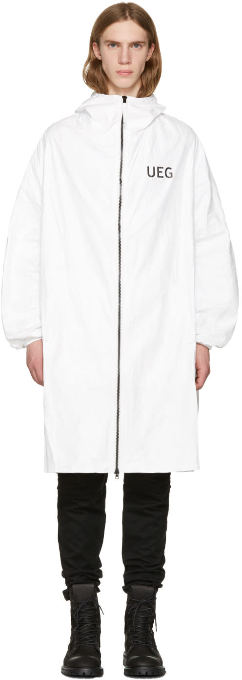 Ueg White Tyvek Logo Hooded Coat
