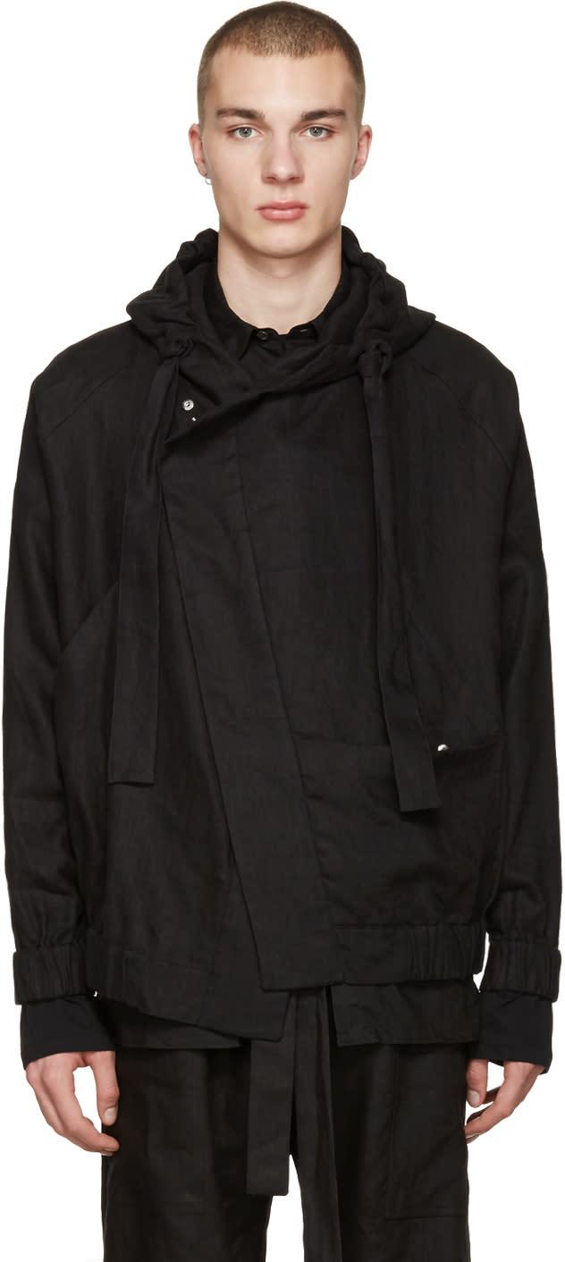 Phoebe English Black Linen Bomber Jacket