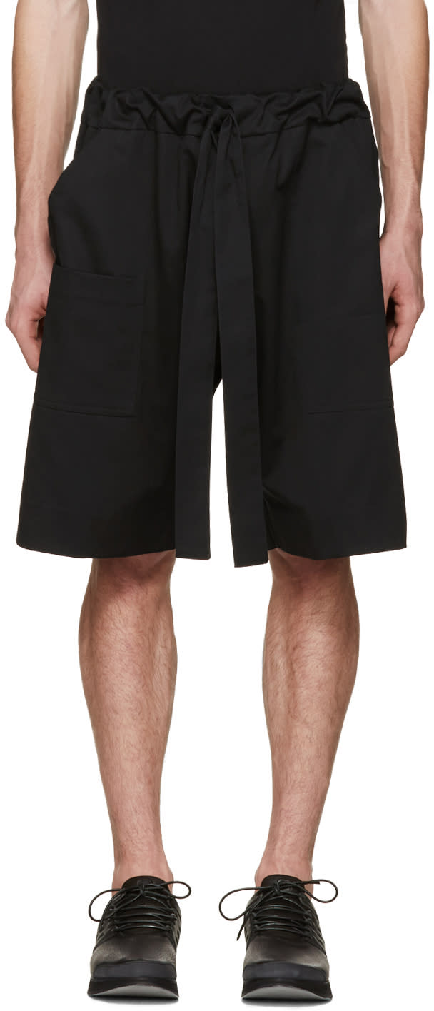 Image of Phoebe English Black Tie Front Shorts