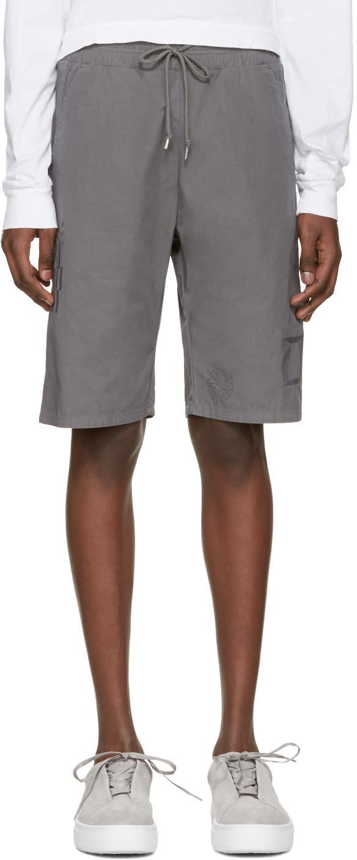 John Elliott Grey Embroidered Shorts