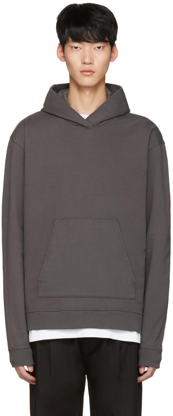 John Elliott Grey Oversized Cropped Hoodie
