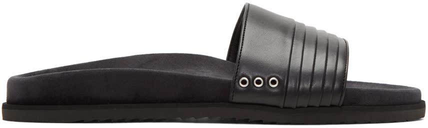 John Elliott Black Leather Slide Sandals