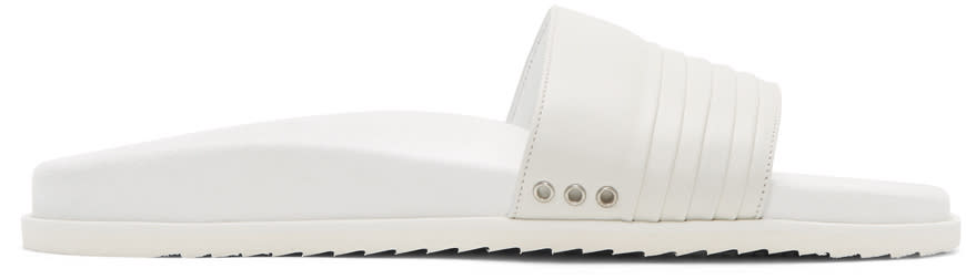 John Elliott White Leather Slide Sandals