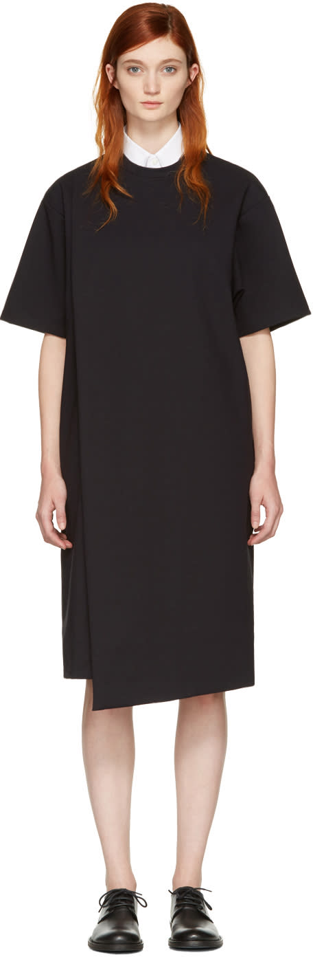 Hyke Black Foldover Panel Dress