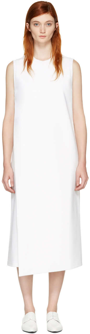 Hyke White Foldover Panel Dress