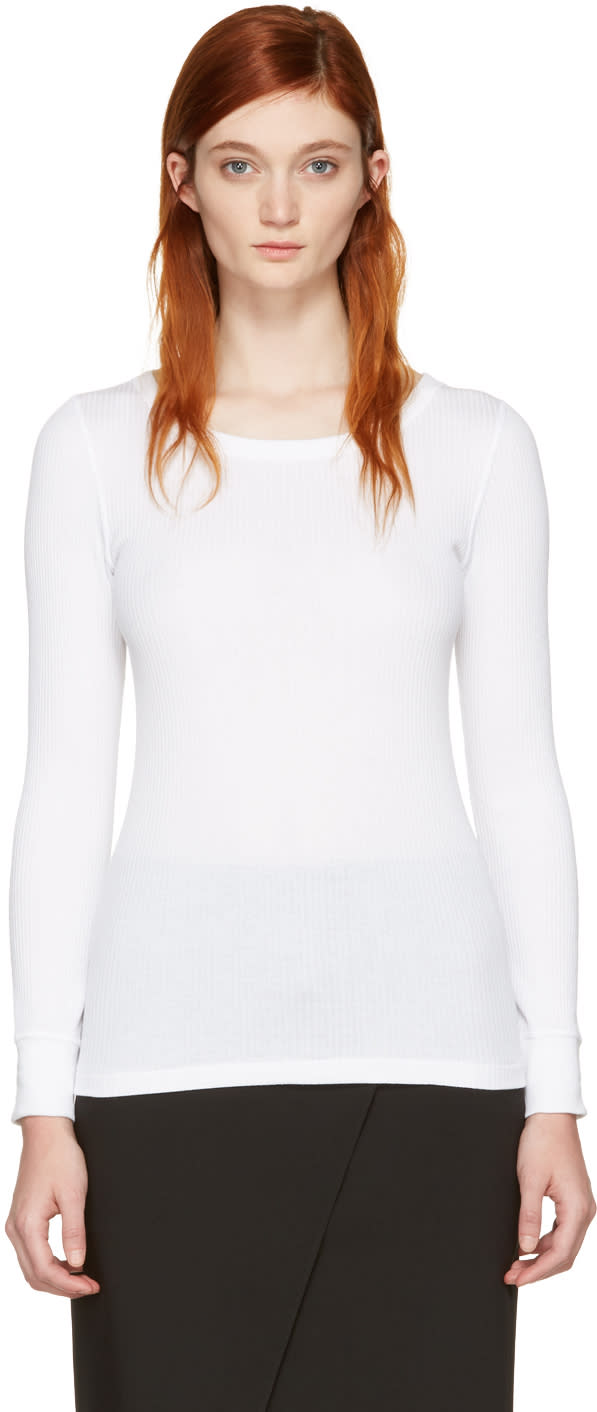 Hyke White Ribbed T-shirt