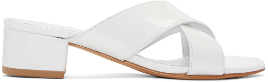 Maryam Nassir Zadeh White Patent Leather Lauren Slide Sandals