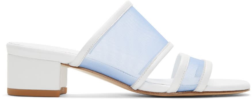 Maryam Nassir Zadeh White and Blue Martina Slide Sandals