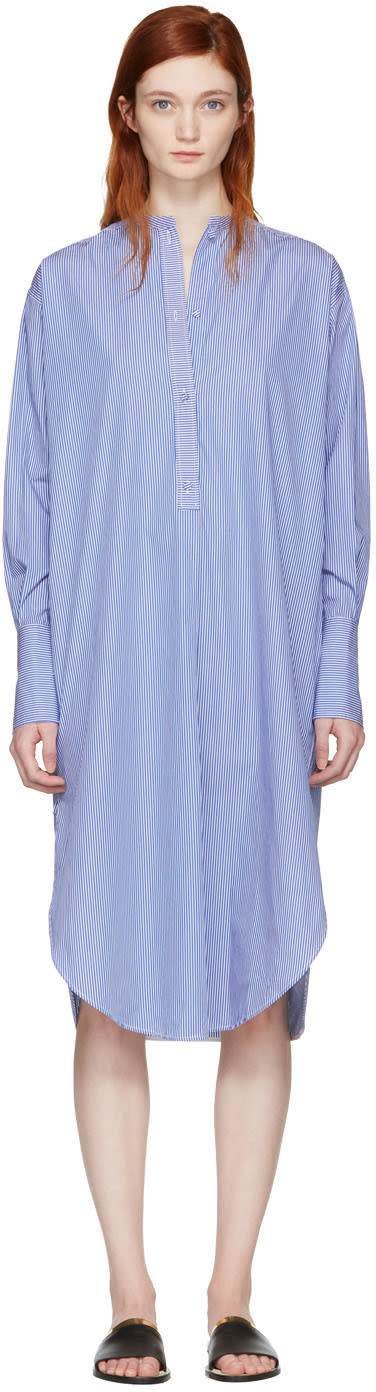 Ports 1961 Blue Striped Poplin Dress