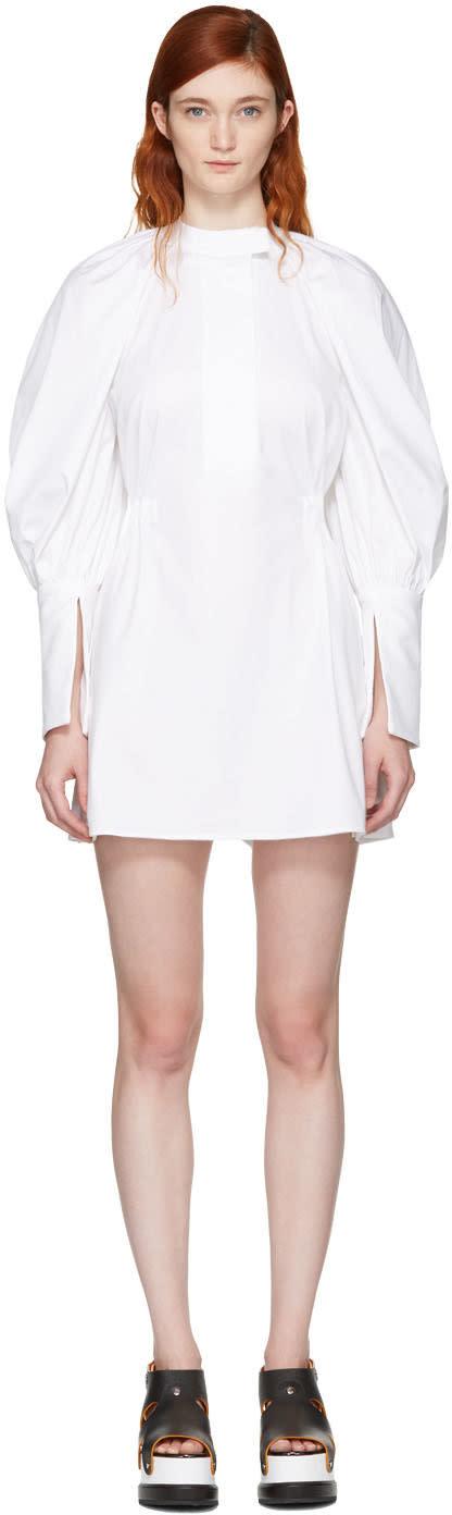 Ellery White Medusa Bubble Sleeve Shirt Dress