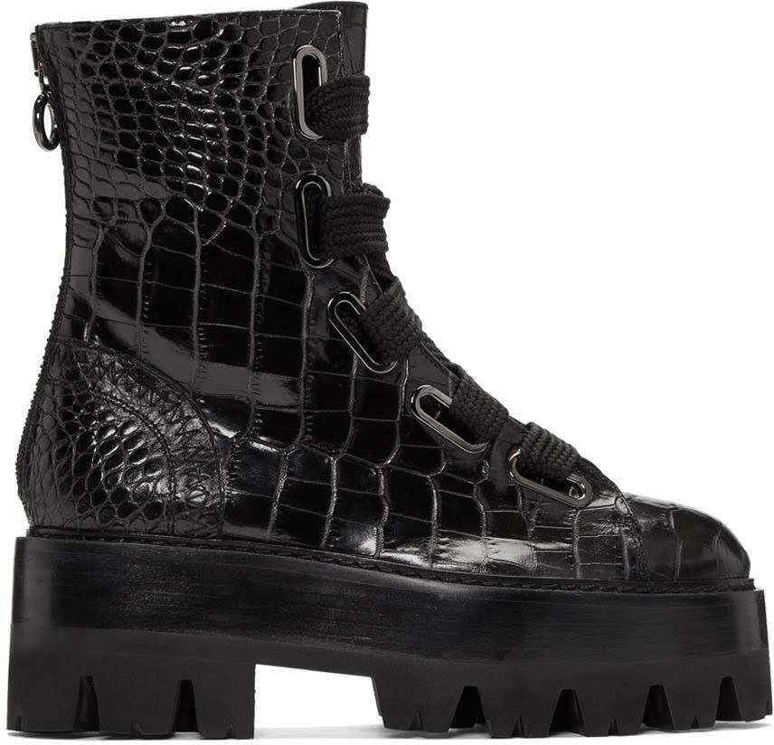 Ellery Black Sunny Platform Combat Boots