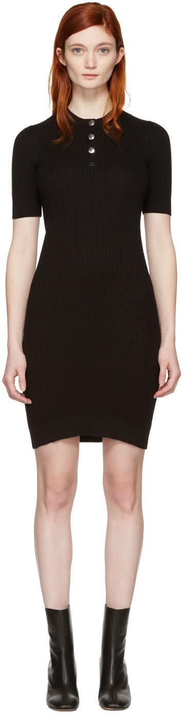 Image of Courrèges Black Classic Button Dress