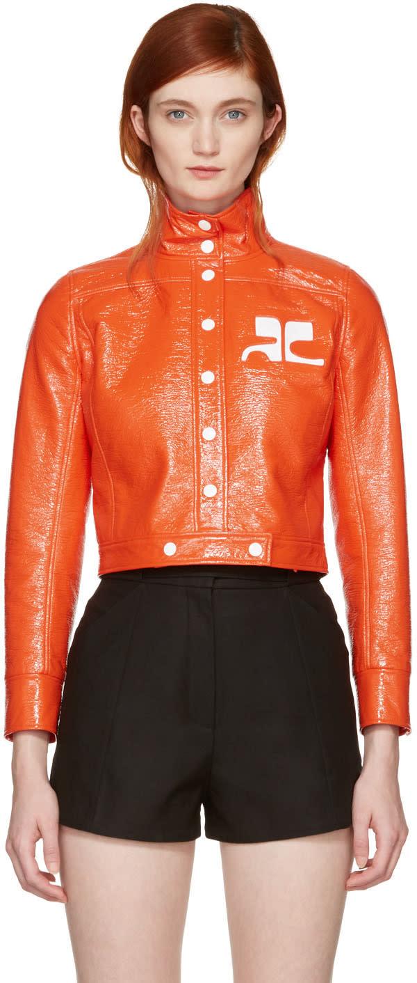 Courrèges Orange Vinyl Iconic Short Jacket