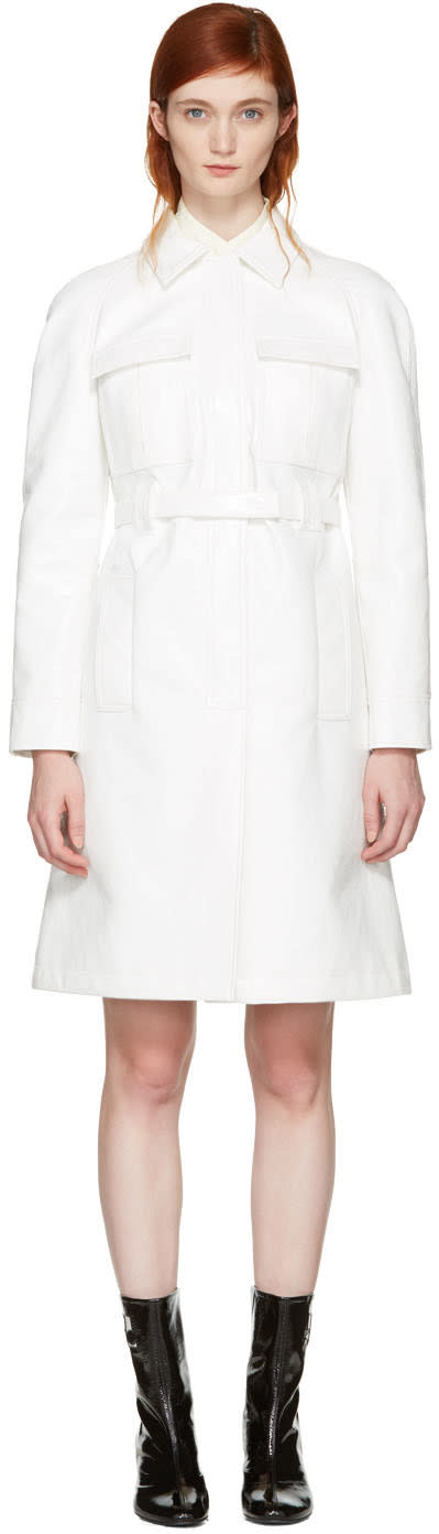 Courrèges Off-white Vinyl Belted Trench Coat