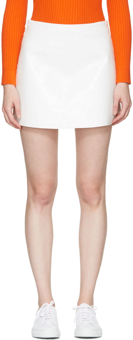 Courreges Off-white Vinyl Iconic Miniskirt