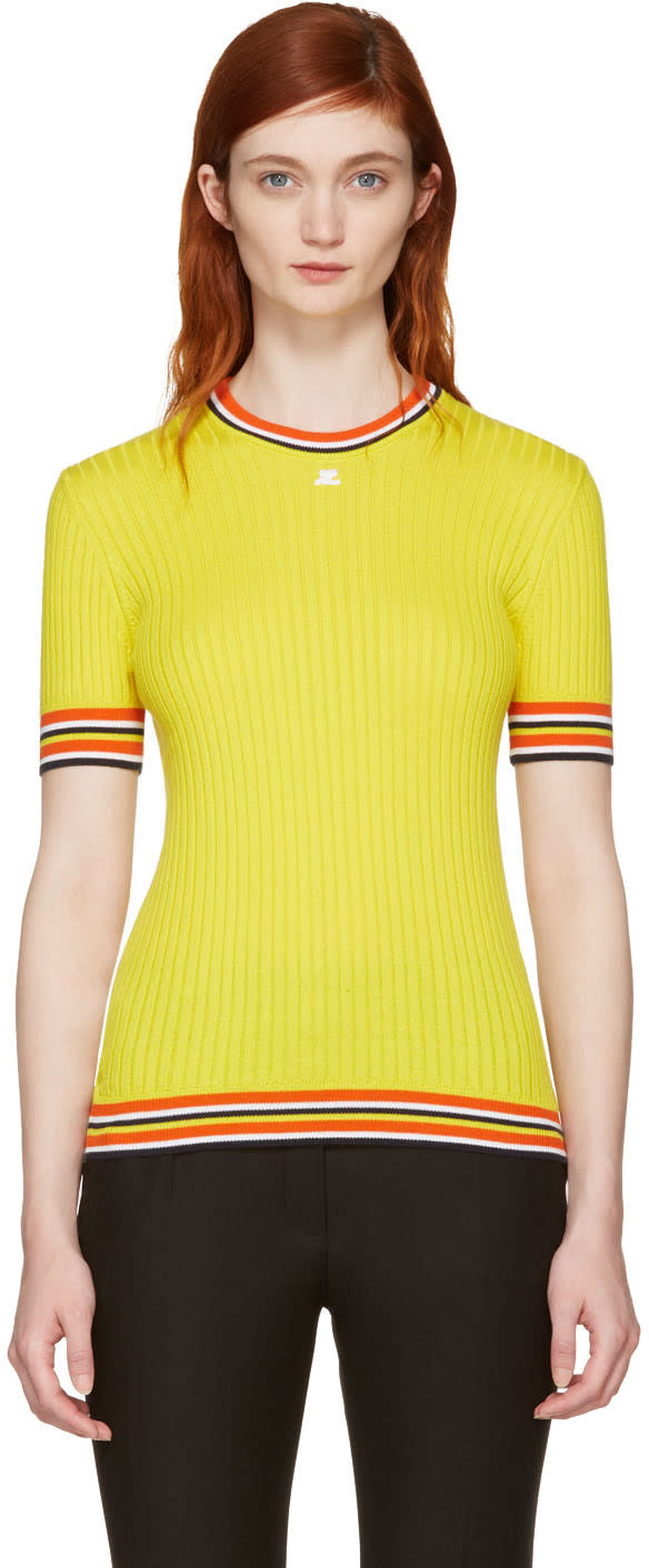 Courreges Yellow Ribbed Short Sleeve Pullover