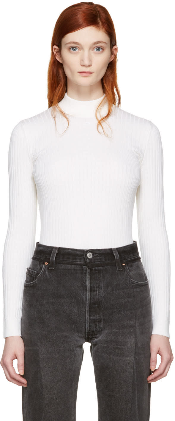 Courreges White Classic High Neck Pullover