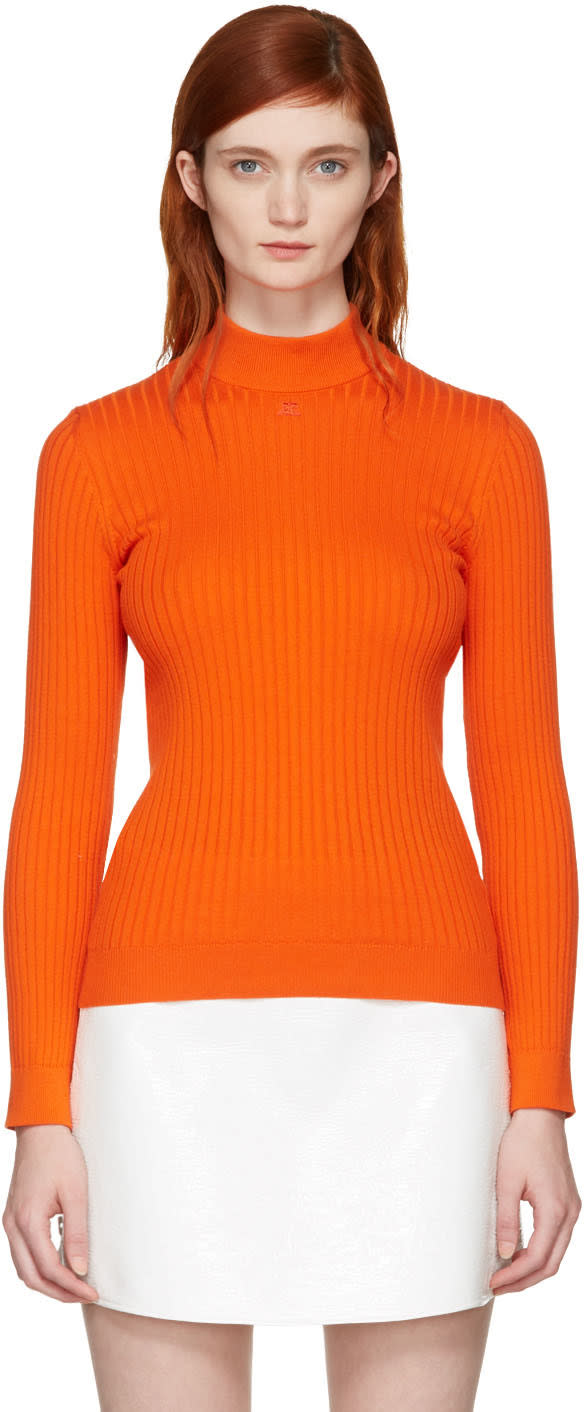 Courreges Orange Classic Ribbed Turtleneck