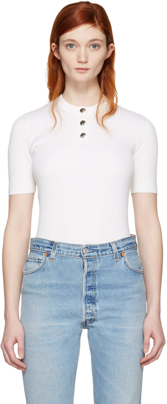 Image of Courrèges White Classic Button Pullover